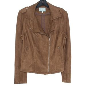 Skies Are Blue Jacket Moto Faux Suede Small JD